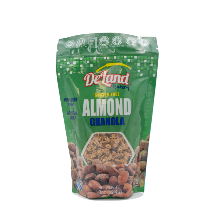 Gluten Free Almond Granola Back Made with 100% Raw and Unfiltered Honey